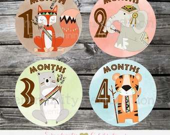 Baby Monthly Stickers, Instant Download DIY Printable Baby Milestone Stickers -Tribal Baby Monthly Sticker -Photo Prop -Gift -Baby Shower