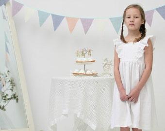 Flower girl dress Girls white dress Girls linen dress Flutter sleeve dress Baptism dress Girls clothes Special occasion girls dress