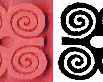 Small African Adinkra Ram's Horn Stamp - DWENNIMMEN Symbol of Strength & Humility - Ceramic PMC Clay - Petite African Adinkra Design Stamp