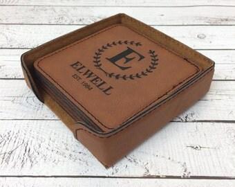Engraved Coaster Set with holder, Custom Laser Engraved Coasters, Personalized Square Leather Coasters, Housewarming Gift, Wedding Gift