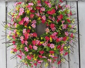 Spring Wreath - Daisy Wreath - Summer Door Wreath - Country Twig Wreath - Pink Wreath - Spring Door Wreath - Wildflower Wreath - Mothers Day