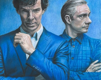 Print of Colored Pencil Drawing of Benedict Cumberbatch and Martin Freeman as Sherlock and Watson 8.5 x 11