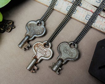 Miller Padlock Key Necklace | Scroll Engraved | Gunmetal Steel or Antique Brass Chain | Skeleton Keys | Steampunk | Victorian | Limited #'s!