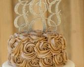 """Wedding Cake Topper, Cake Topper, Monogram Cake Topper, Couples Monogram Cake Topper, GLITTER Cake Topper, Custom 5"""" Wood Script with Spikes"""