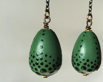 Dragon's Egg's Earrings - Hand Painted Green Dangles with Black Dots - Reptile Chic - Alien Eggs