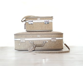 Vintage Tweed Luggage/ Train Case ~ Halston III 3 by Hartmann Tweed Rolling Luggage Suitcase -Grey/Brown Travel Train Carry On Cosmetic Case