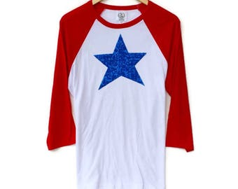 4th of July Shirt.  Sequin Star Shirt. American Flag Shirt. Red White and Blue. July 4th Tee. Womens 4th of July. July Fourth Tee T Shirt