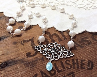 Silver Pearl Statement Necklace silver necklace pearl necklace saint necklace