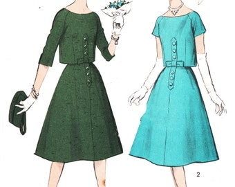 Advance 8751 Misses' Vintage 1950s Camisole Trapeze Dress and Overblouse Sewing Pattern