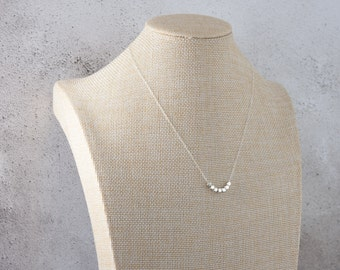 Sterling Silver Nuggets Necklace, Fine Chain, Dainty, Modern Minimalist Necklace