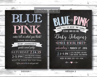 chalkboard gender reveal party invitation, blue or pink, what do you think, pink or blue, boy or girl, party, PRINTABLE or PRINTED INVITES