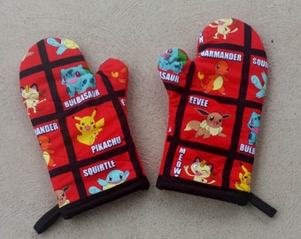 Pokemon Oven Mitts and Pot Holders - Pokemon Decorations - Pokemon Kitchen - Pokemon House Warming Gift - Pokemon Wedding Gift