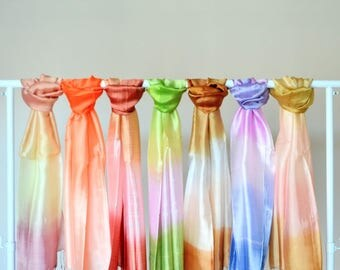 "Iris 16X65"" Three Tone Silk Scarf Solid Color Fashion Love Bohemian Scarf Summer Scarf Boho Women Accessories"
