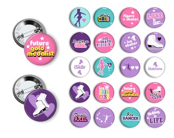 Ice Skater Ice Skating (set 2) Pin Back Button Party Favors  1.25 inch Buttons Student reward pins badges magnets