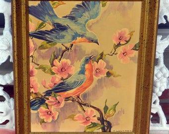 Bluebirds Floral Painting - Artist Signed, Gold Wood Frame, Lockhart - Vintage - Beautiful!