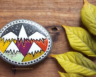 "Mountain Painted Rock, SMALL 2"" by 2.5"" Hand-Painted Stone, Painted Mountains, Hand Painted Rock"