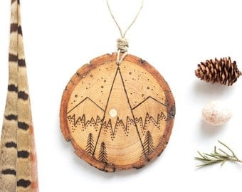 """Personalizable Mountain Wood Slice Ornament - MEDIUM 2.75"""" Natural Wood-Burned Ornament, Wood Mountain Keepsake, Customized Wood Ornament"""