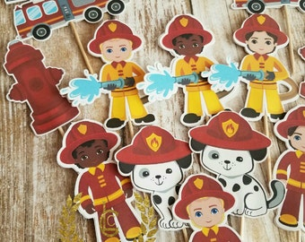 Fireman Cupcake Toppers, Fire Truck Toppers (Set of 12)- Firefighter Cupcake Toppers, Fireman Birthday, Party Decor, Firefighter Party