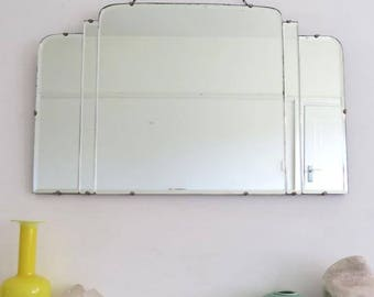 Vintage Art Deco Large Fan Shape Mirror