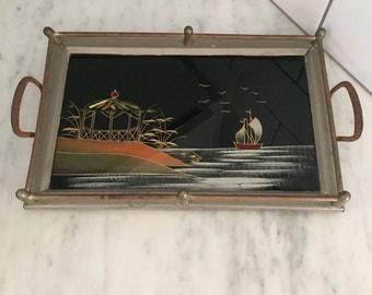 Art Deco Tray, Asian Tray, Asian Decor, Made in Germany, Reverse Painted Tray