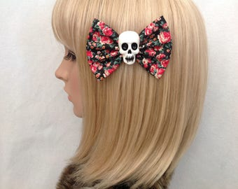 Floral print skull hair bow clip rockabilly psychobilly gothic Lolita rock punk pin up girl sugar pinup rose black re fabric ladies