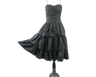 1980s Black Rusched Ruffled Prom Dress by Billy Jack for Her