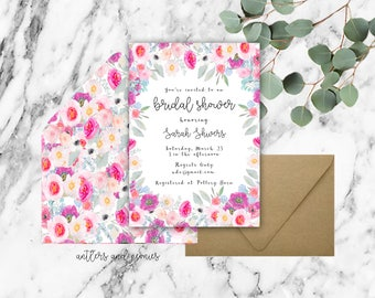 whimsical bridal shower invitation - watercolor - bridal shower  - floral invitation