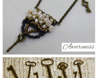 Secret keys pendant, seed bead pearl pendant, grey white charm necklace, Minimalist pendant, boho chic pendant, seam punk pendant, love gift