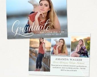 Senior Graduation Announcement Template for Photographers 024, Instant Download