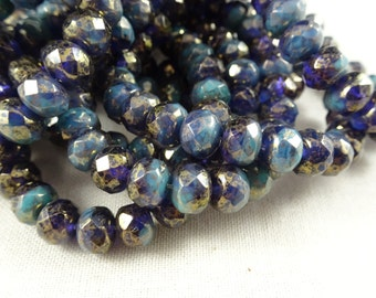 Czech Beads, 7x5mm Rondelle, Czech Glass Beads - Deep Purple and Turquoise Mix with Golden Luster (R7/RJ-2014) - Qty 25