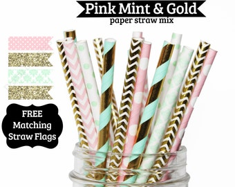 Pink Mint Gold, Paper Straws, girls first birthday, PAPER STRAWS mix, birthday party wedding, bridal shower, baby shower, pink mint gold