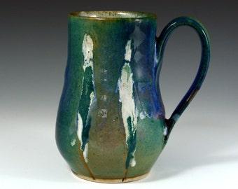 Large  Green purple and blue mug, Coffee Mug  18 oz, handmade ceramic Mug, Pottery coffee cup with figure.