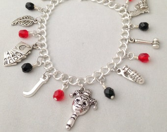 Harley Quinn Charm Bracelet - DC Universe Inspired Jewelry with Silver Charms and Black and Red Beads
