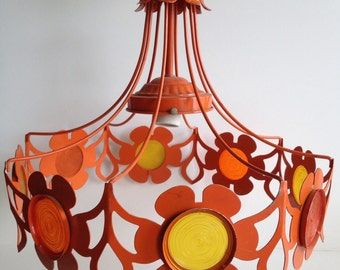 Awesome 1960's Orange with Daisies Chandelier / Modern Lighting Fixture