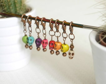 8 rings markers to carabiners in pearls crane howlite natural for crochet/knitting (stitches markers)
