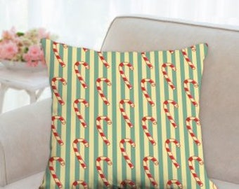 Green, White and Red Candy Cane Christmas Pillow
