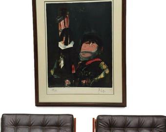 Vintage Abstract Modern Art Print Limited Edition 1979 Lithograph Framed Mid Century Modern Scotland Spanish Artist Pelayo Dark Mood Colors