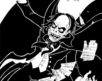 Phantom of the Opera, Original Ink Drawing