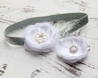 Set of 2 Flower Headband and Clip, Baby Headband