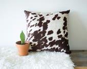 Faux Brown Cowhide Throw Pillow