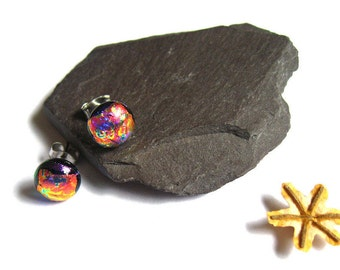 Red,Gold Dichroic glass stud earrings,surgical steel posts,Fused glass minimal earrings, friend gift, light round Mum earrings, Easter ER122