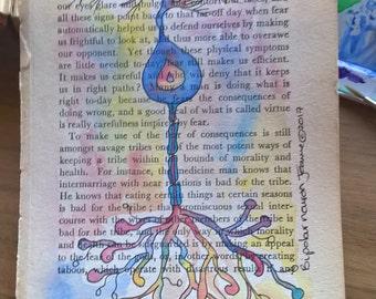 Neurological Watercolour- Bipolar Neuron in hues of blue