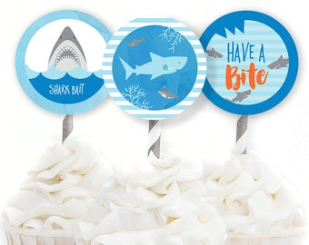 Shark Party Decor, Shark Cupcake Toppers, Shark Birthday, Pool Party Decor, Boy Birthday Decor, Shark Bait Tag, INSTANT DOWNLOAD, #72