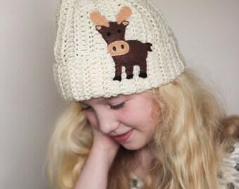 Moose Beanie/ Crocheted Moose Hat/ Moose Hat/ Crocheted Hat/ Winter Hat/ Girls Winter Hat/ Boys winter Hat/