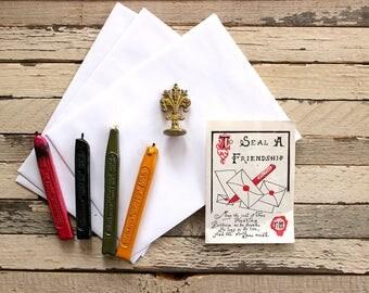 Vintage Fleur De Lis Sealing Wax Stamp and Walkden's Wax Sticks