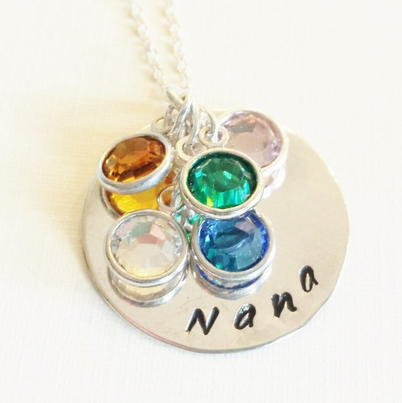 Nana Necklace / Personalized Jewelry / Hand Stamped Necklace / Grandma Necklace / Necklace with Grandkids Birthstones / Grandma Gift