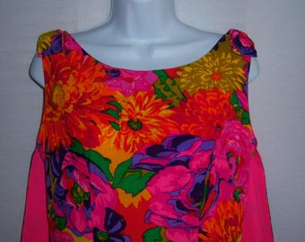 Vintage Casual Aire Mildred's of Hawaii Neon Pink Lime Green Bright Floral Flower Print Sheath Maxi Column Dress 8