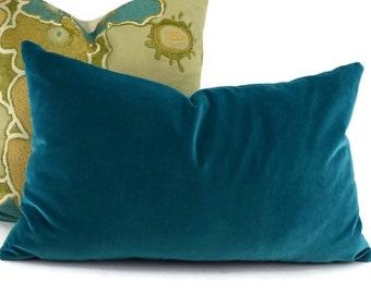 Turquoise Velvet Lumbar Throw Pillow Cover, 12x20