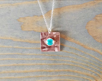 Turquoise Pendant Necklace, Minimal Turquoise Jewelry, Layering Necklace, Square Copper Pendant, December Birthstone Charm, Tile Pendant