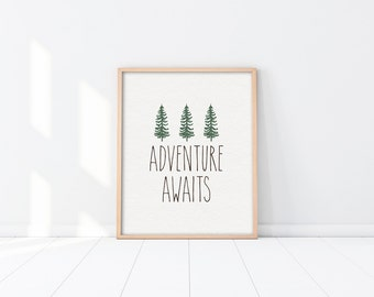 Art Print - Buy One Get One Free - Adventure Awaits - Woodland nursery art print - Neutral - Green trees - Quote - Inspirational - SKU:3396